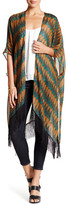 David & Young Fringed Feather Print Tunic Wrap
