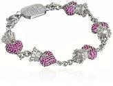 King Baby Studio Pink Pave Cubic Zirconia Crowned Heart Motif Bracelet