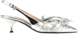 Prada Leather Slingback With Bow Detail