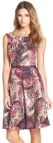 Ellen Tracy Print Belted Fit & Flare Dress