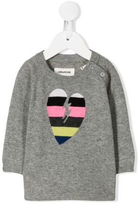 Zadig & Voltaire Kids heart knitted jumper