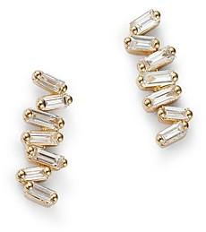 Suzanne Kalan 18K Yellow Gold Diamond Baguette Stud Earrings