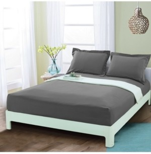 Elegant Comfort Silky Soft Single Fitted Sheet King Gray Bedding