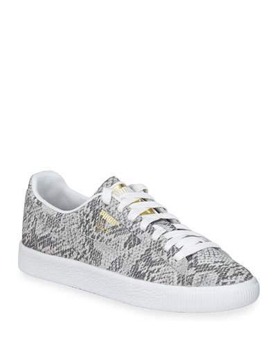 wholesale dealer a9731 70a6b Clyde Snake-Print Leather Lace-Up Sneakers