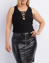 Charlotte Russe Plus Size Sleeveless Lattice Crop Top