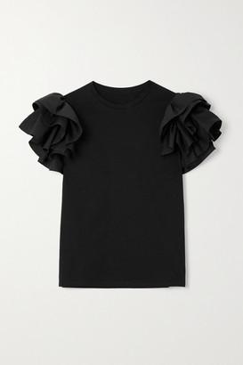 Alexander McQueen Ruffled Poplin-trimmed Cotton-jersey T-shirt - Black
