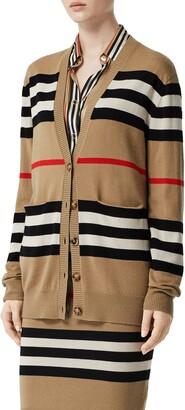 Burberry Scioto Icon Stripe Merino Wool Cardigan