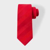 Paul Smith Men's Red Textured Stripe Narrow Silk Tie