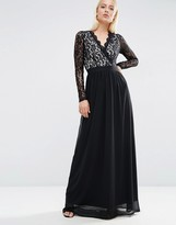 Club L Long Sleeve Lace Scallop Maxi Dress