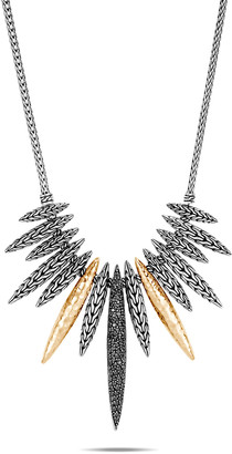 John Hardy Classic Chain Mixed-Spear Necklace w/ 18k Gold & Black Spinel