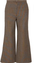 Rosetta Getty Cropped Houndstooth Wool Flared Pants - Brown