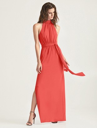 Halston Mock Neck Jersey Gown