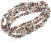 Nine West Tri-Tone Multi-Row Beaded Stretch Bracelet