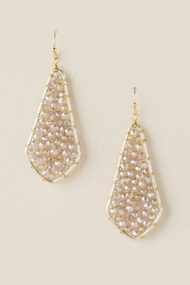francesca's Debbi Woven Beaded Earrings - Champagne