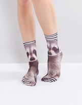 Monki Racoon Print Socks