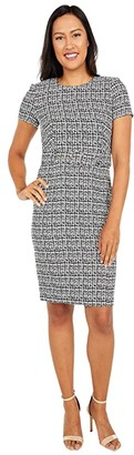 Calvin Klein Short Sleeve Printed Compression Dress with Belt (Black/Cream) Women's Dress