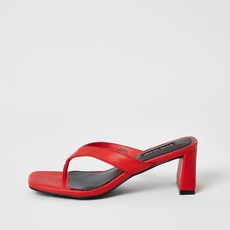 River Island Red toe thong block heel sandals