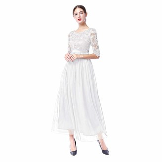 IWEMEK Elegant Women's Vintage 2/3 Sleeves Long Maxi Floral Lace Tulle Evening Gown Wedding Bridesmaid Cocktail Homecoming Prom Party Dress Blue M
