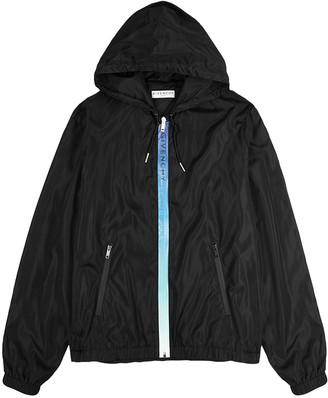 Givenchy Black logo-print hooded shell jacket