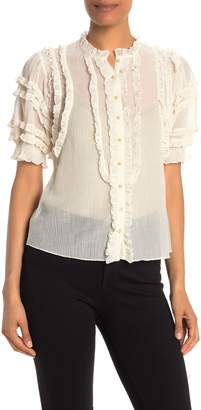 Rebecca Taylor Voile Ruffled Elbow Sleeve Blouse