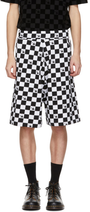 McQ Black and White Racing Check Swallow Low Shorts