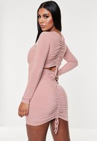 Missguided Blush Slinky Ruched Back Cut Out Mini Dress