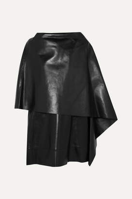 Valentino Cape-effect Leather Mini Dress - Black