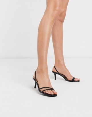 Steve Madden Loft strappy heeled sandals in black snake