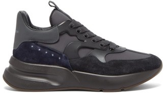 Alexander McQueen Raised-sole Suede And Leather Trainers - Black Multi