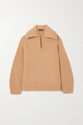 Theory Moving Ribbed Wool And Cashmere-blend Sweater - Camel