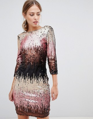 Little Mistress ombre sequin bodycon dress with long sleeves and scoop back