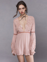 For Love & Lemons Lilou Floral Romper in Dusty Pink