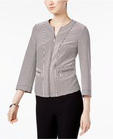 Kasper Zip-Up Jacquard Blazer