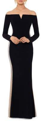 Xscape Evenings Embellished Off-The-Shoulder Gown