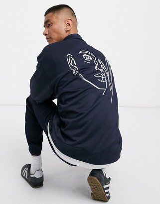 ASOS DESIGN jersey harrington jacket in navy with embroidery
