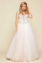 Mac Duggal Embellished Strapless Long Gown in Ivory/Nude 65357H
