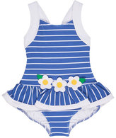 Florence Eiseman Striped Jacquard Skirted Swimsuit, Blue, Size 2-6X