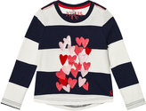 Joules Striped Heart Print and Applique Long Sleeve Tee