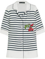 Dolce & Gabbana Appliquéd Striped Silk-twill Shirt - White