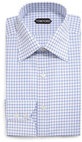 Tom Ford Windowpane-Pattern Silk Dress Shirt, Blue/White