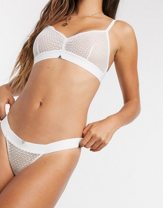 Beija Waves sheer geometric lace tanga briefs in white
