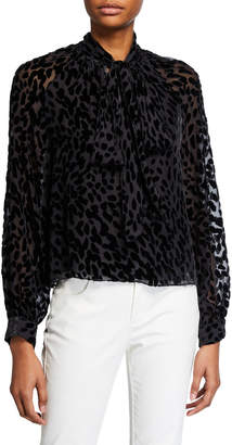 Tanya Taylor Giovanna Leopard Burnout Tie-Neck Top