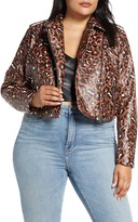 ELOQUII Leopard Print Faux Leather Crop Moto Jacket