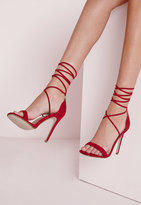 Missguided Lace Up Barely There Heeled Sandals Red