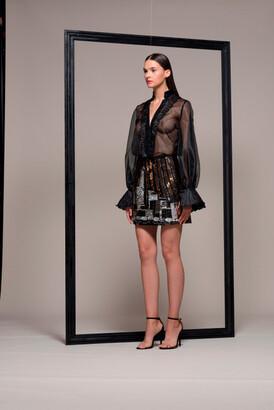 Isabel Sanchis Long Sleeve Mini Cocktail Dress