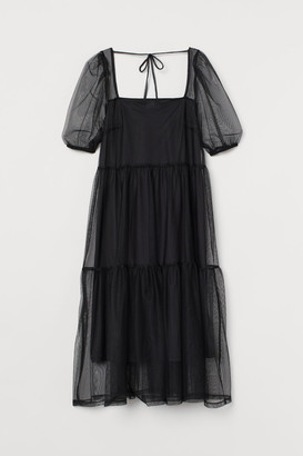 H&M Puff-sleeved Mesh Dress - Black