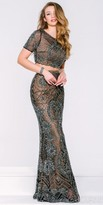 Jovani Antique Beaded Two Piece Evening Dress