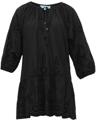 Melissa Odabash Ashley Laser-cut Cotton-poplin Dress - Womens - Black