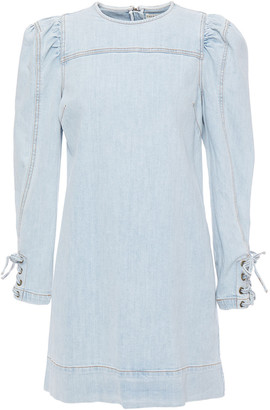 Ulla Johnson Lace-up Faded Denim Mini Dress