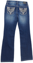 ZCO Medium Blue Flourish-Embroidered Bootcut Jeans - Girls